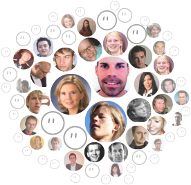 """buddyfinder """"crowd"""" visualisation with densely packed faces"""