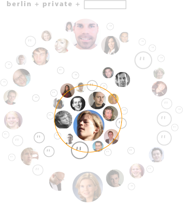 """Buddyfinder """"crowd"""" visualization, with a subset captured/selected in a centred circle"""